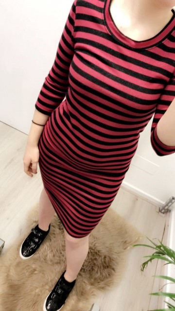 Black/Red Striped Long Sleeve Bodycon
