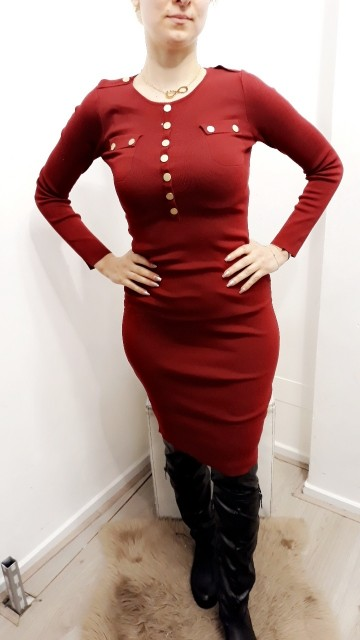 Long Botton Dress Red