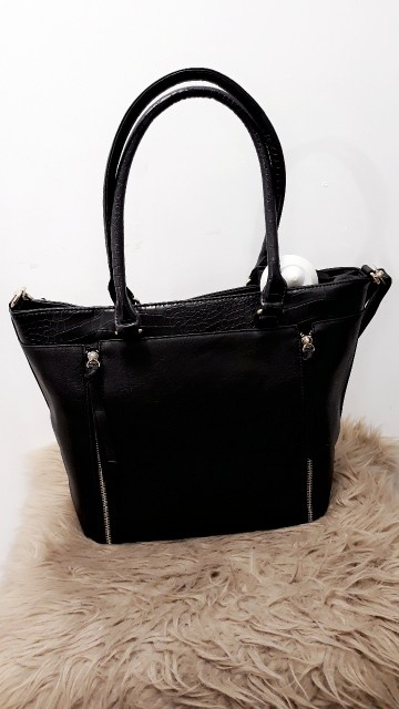Black Leather Handbag Zilver