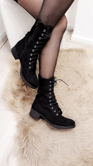 Velvet Black High Ankle Boots