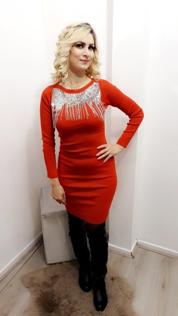 Red Jewel Neckless Dress