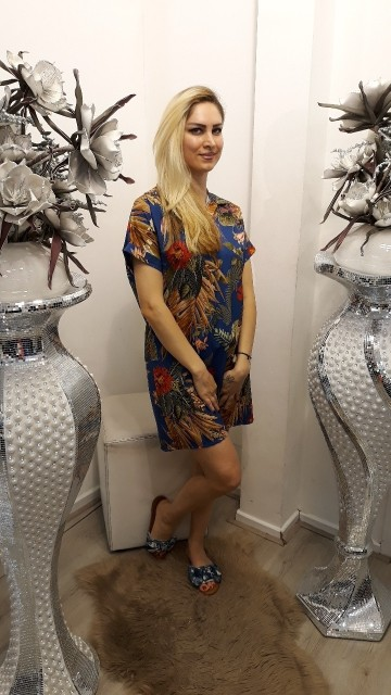 Shirtdress jungle vibes -Donkerblauw