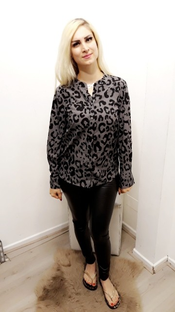 Leopard Grey Blouse