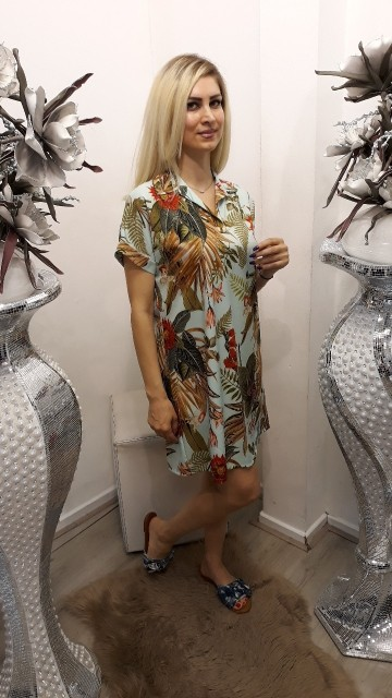 Shirtdress jungle vibes -Lichtblauw