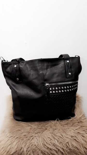 Mixed Leather Black Handbag