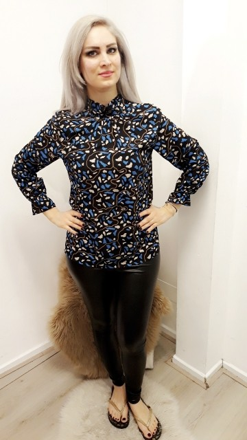 Blue & Black Pattern Blouse