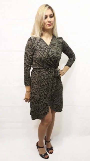 Zebra Wrap Dress Green