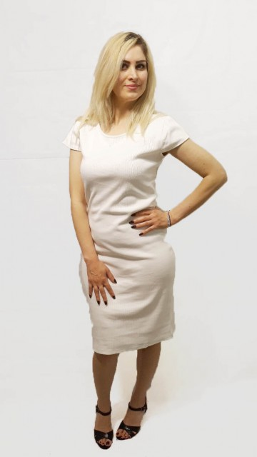 Basic Short Sleeve Dress White