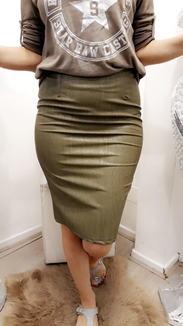 Green Snake Leather Skirt