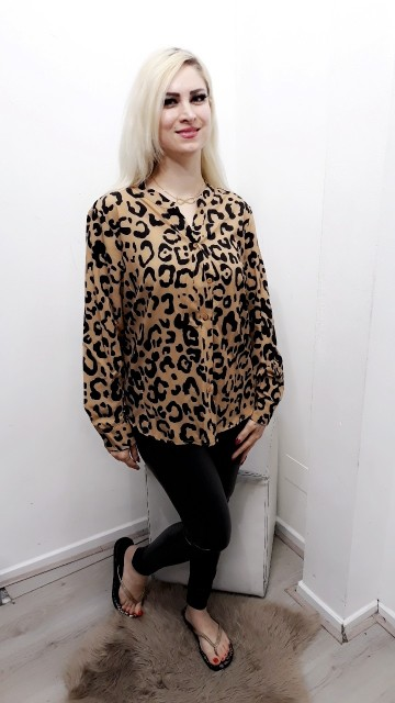 Leopard Cream Blouse