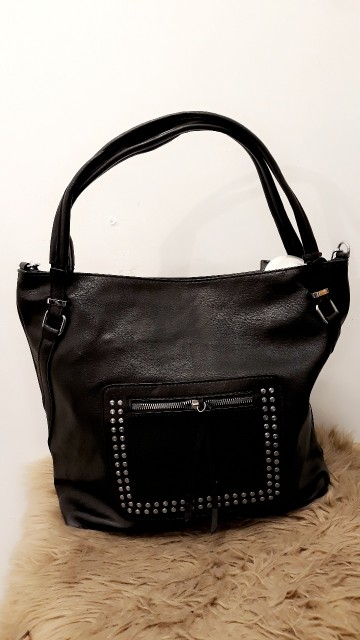 Circle Studded Black Handbag