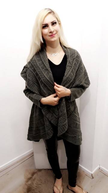 Ready For Fall Poncho Grey