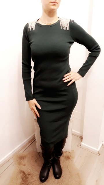 Shoulder Bling Dress Black