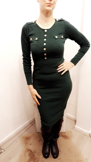 Long Botton Dress Green