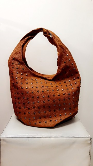 Brown Crocodile Studded Bag