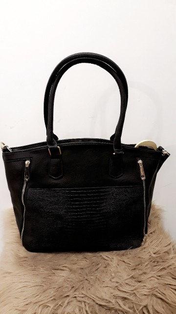 Black Snake Leather Handbag Zilver