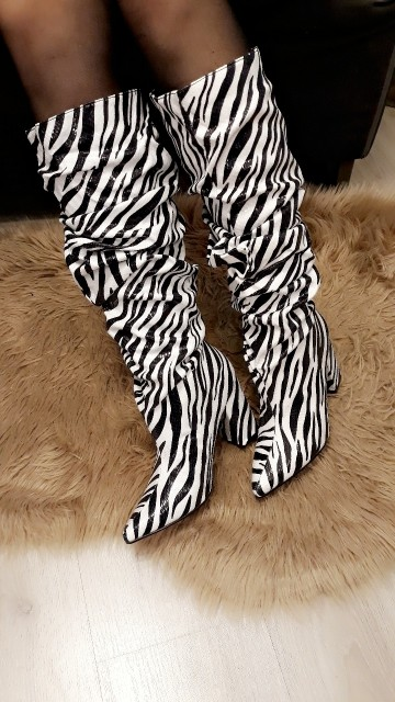 High Sleek Zebra Boots