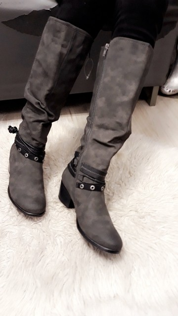 Belted High Boots Grey