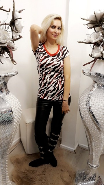 Zebraprint top- rood
