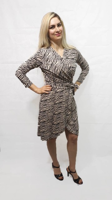 Zebra Wrap Dress Beige