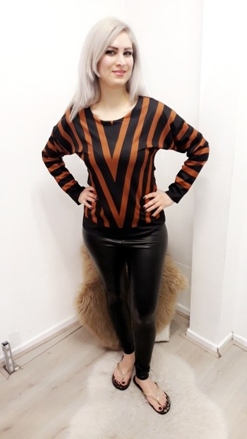 Brown Stripped Sweater