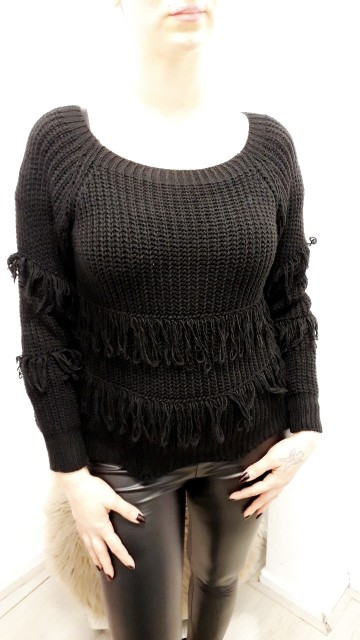 Black Ruffled Sweater