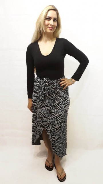 Zebra Wrap Skirt White