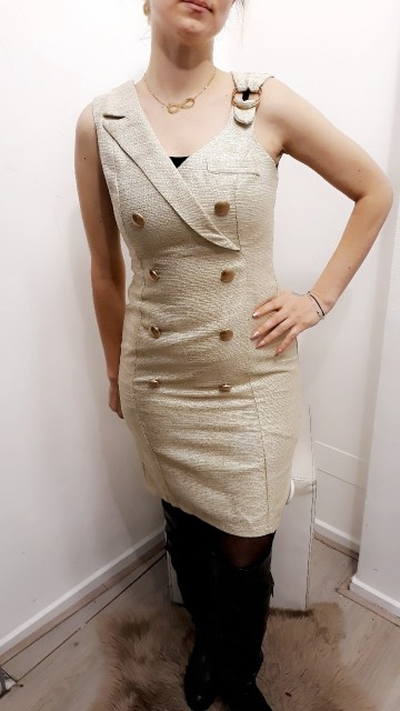 Modern Sailor Dress Beige