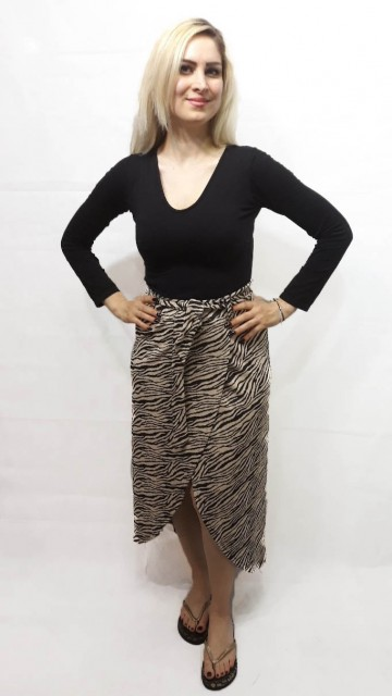 Zebra Wrap Skirt Beige