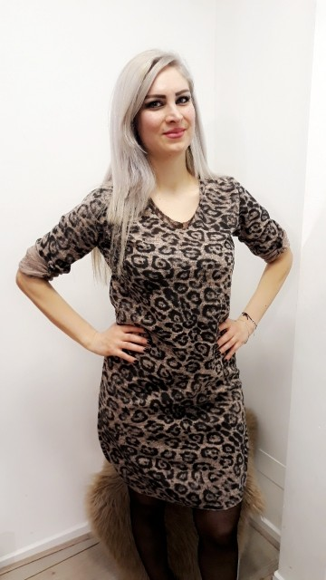 Creme Loose Leopard Dress